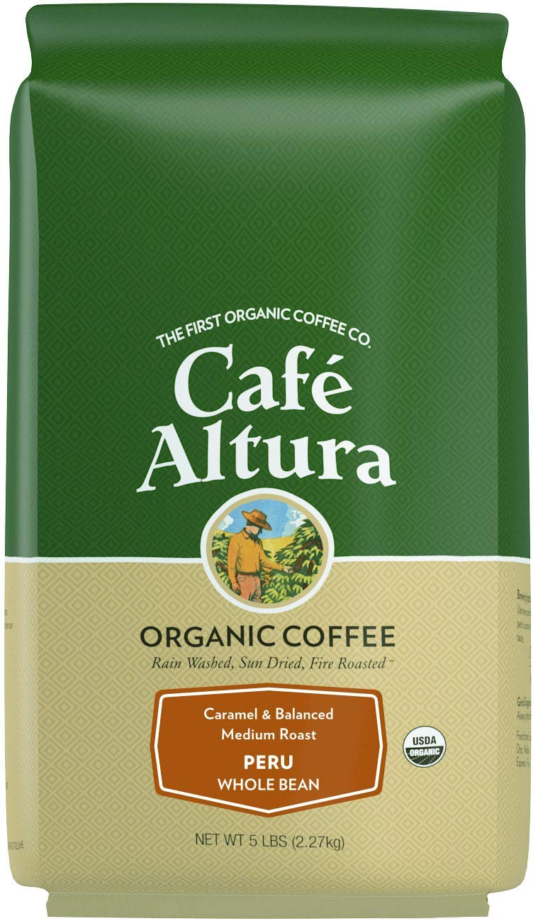 Cafe Altura Whole Bean Organic Coffee, Peru (Packaging May Vary)