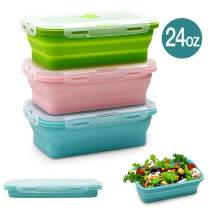Silicone Food Storage Containers with Lids - 3 Pack Set 24oz/800ml Collapsible Meal Prep Lunch Containers Bento Boxes - Microwave, Freezer and Dishwasher Safe