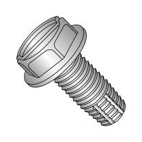 "18-8 Stainless Steel Thread Cutting Screw, Plain Finish, Hex Washer Head, Slotted Drive, Type F, 1/4""-20 Thread Size, 1"" Length (Pack of 10)"