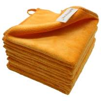 "12""x12"" Microfiber Cleaning Cloth 6 PCS Orange Reusable Wash Clothes for House Boat Car Window Cleaner 2PCS Screen Cloth as Gift"
