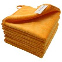 """12""""x12"""" Microfiber Cleaning Cloth 6 PCS Orange Reusable Wash Clothes for House Boat Car Window Cleaner 2PCS Screen Cloth as Gift"""