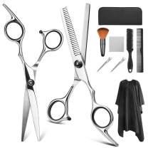 Hair Cutting Scissors Set, YBLNTEK 9 Pcs Professional Hairdressing Scissors Barber Thinning Scissors Hair Cutting Shears Kit for Barber Salon and Home (Black)