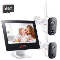 """Wireless Security Camera System Battery,4CH 2MP All-in-One 9"""" Touched LCD Monitor with 2 Pro Rechargeable Battery Outdoor WiFi Security Camera 1080p HD Wire-Free 2-Way Audio Day Night Motion Detection"""