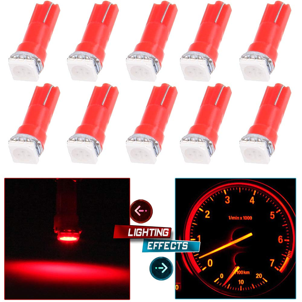 cciyu 10pcs T5 Red 58 70 73 74 Dashboard Gauge 1-SMD 5050 LED Wedge Lamp Bulbs Lights Replacement fit for Dashboard instrument Panel Light Bulbs LED Lamps