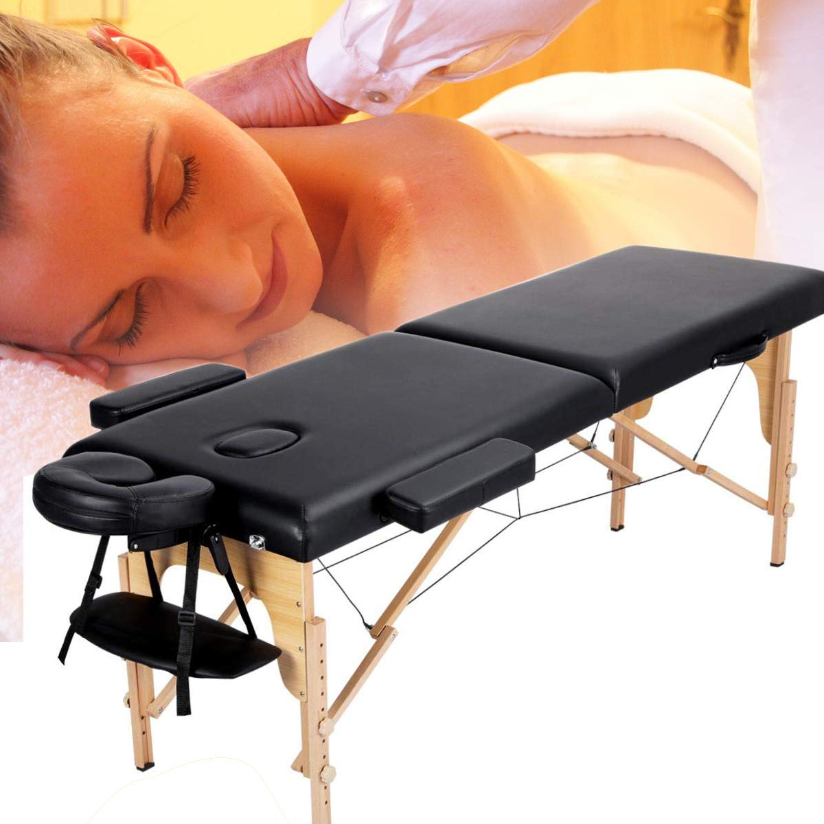 Massage Table,Portable Massage Table,Folding&Professional Premium Memory Foam Massage With Carrying Case,For Facial SPA Massage Table-Black