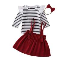 Toddler Girl Fall Outfits Set Girls Long Sleeve Top+Strap Skirt Clothes 0-6T