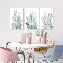 HLJ ART Contemporary Abstract Watercolor Cactus Canvas Print Wall Decor for Home Office Decoration (M, A03)