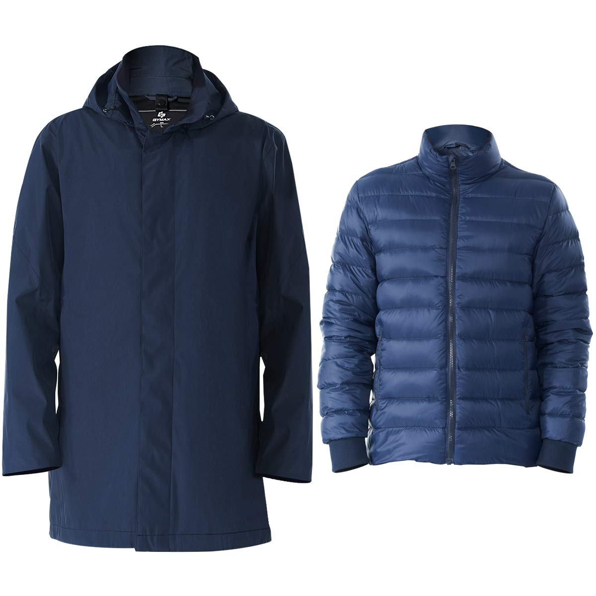 GYMAX 3 in 1 Men's Ski Jacket, Hooded Waterproof Insulated Interchange Coat Winter Parka