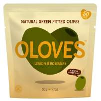 OLOVES Marinated Green Pitted Olives | 30 Pack | Lemon & Rosemary | Vegan, Kosher, Gluten Free + Keto Friendly, All Natural Low Calorie Healthy Snacks | 1.1oz Bags