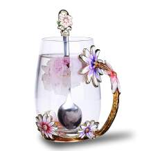 Flower Glass Tea Mug, Lead-Free Handmade Enamel Coffee Mug Tea Cups with Spoon For Women Grandma Mom Teachers Friend Wife 12oz