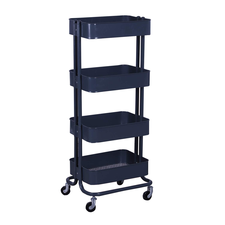 WONLINE Grey 4 Tiers Mental Rolling Utility Cart Mobile Storage Shelves Organizer Trolley Bathroom Book Art Cart on Wheels
