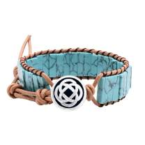 QILMILY Turquoise Wrap Boho Bracelets for Women Handmade Healing Stone Leather Braided Bead Wrap Bracelet Women Men Boho Jewelry Gift