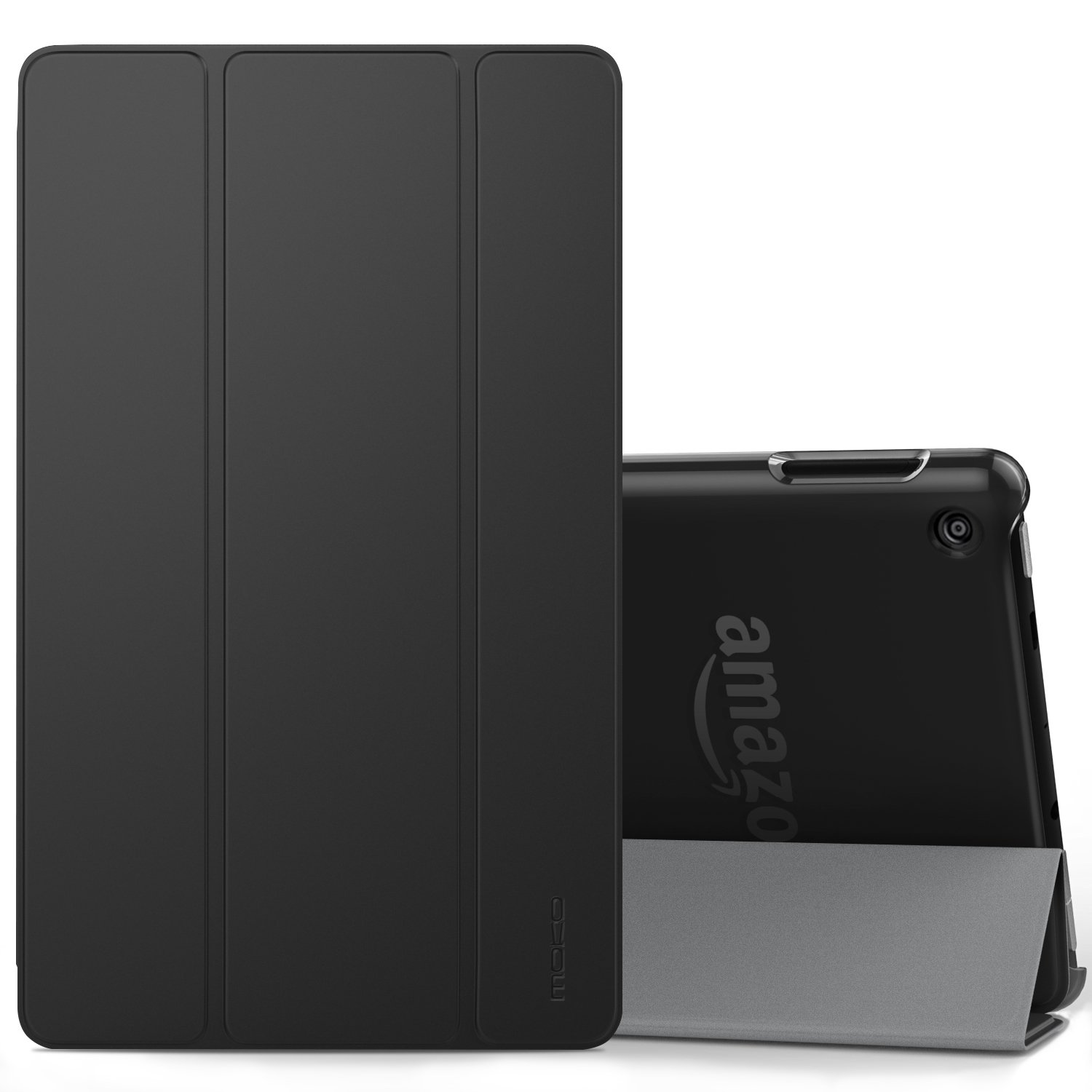 MoKo Case for All-New Amazon Fire 7 Tablet (7th Generation, 2017 Release Only) - Ultra Lightweight Slim Shell Stand Cover with Frosted Back for Fire 7, Black (with Auto Wake/Sleep)