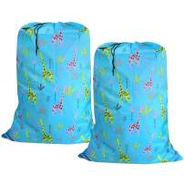 UniLiGis Washable Laundry Bag (2 Pack), Dirty Clothes Hamper Liner with Drawstring Closure, Heavy Duty Rip-Stop Bag for Travel, Dorm, laundromat, 26x39 inches (Giraffe Print)