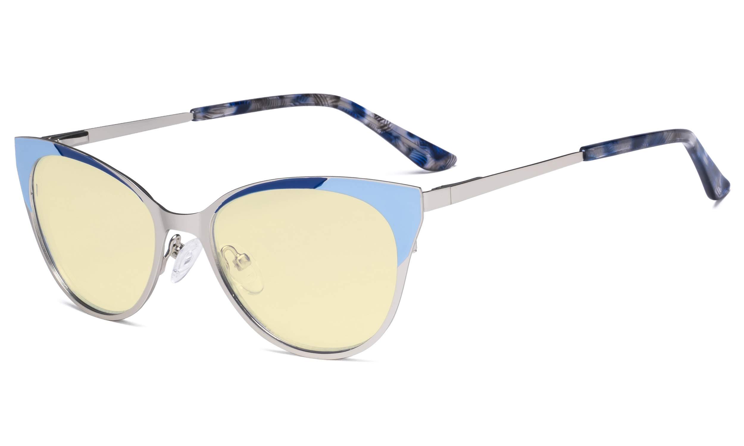 Eyekepper Ladies Blue Light Blocking Glasses - Butterfly Design Computer Eyegalsses Women Anti Screen UV Rays - Cut Digital Glare Yellow Filter Lens Reduce Eye Strain - Silver