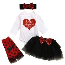 My 1st Valentine's Day Newborn Infant Baby Girls Outfit Long Sleeve Romper Tutu Skirt 4PCS Set