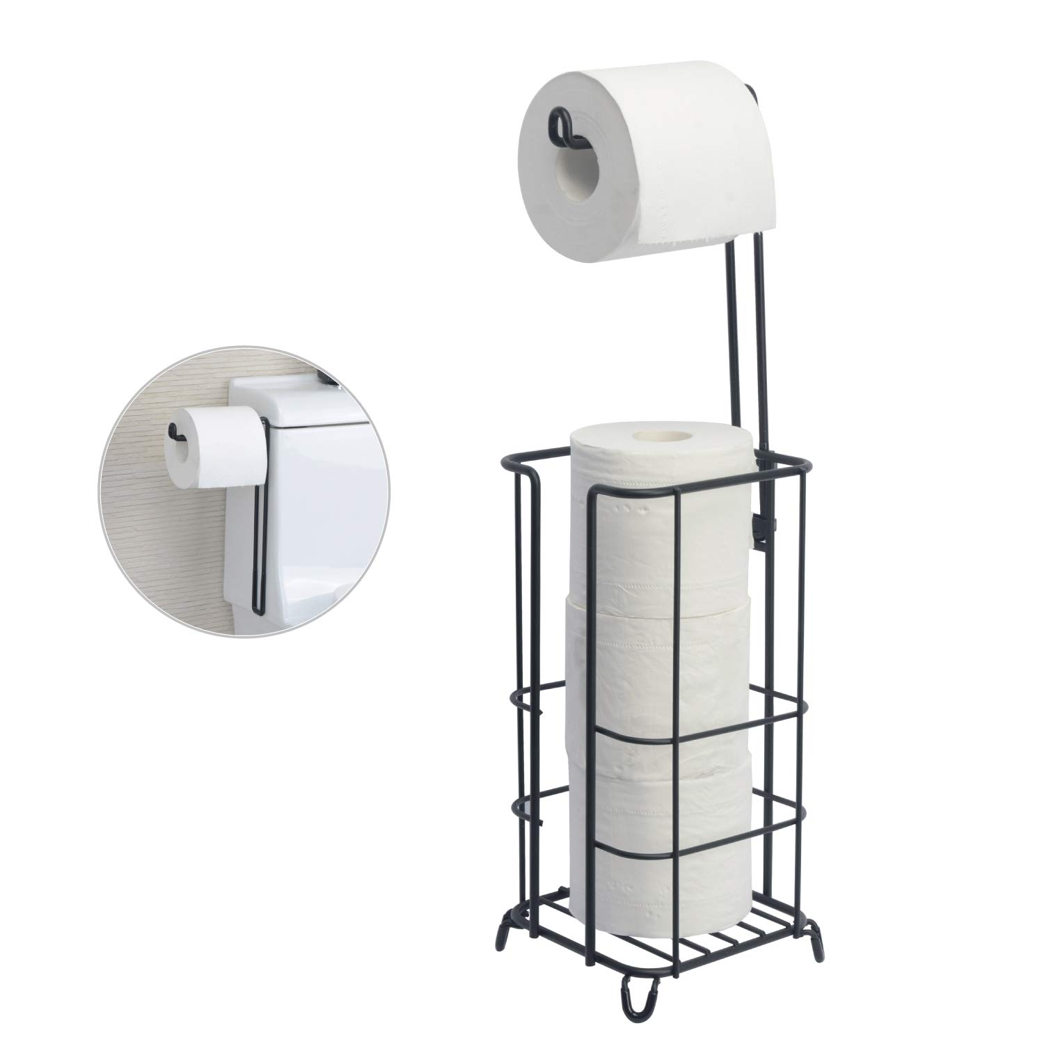 ZCCZ Toilet Paper Holder, Free Standing Bathroom Toilet Tissue Paper Roll Storage Holder Stand Shelf, Holds Mega Roll for Bathroom Storage Organizing, Black