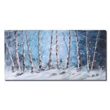 Aspen Birch Tree Abstract Oil Painting Modern Handmade Canvas Wall Art for Home Decor Artworks (Blue)