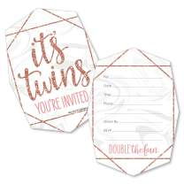 It's Twin Girls - Shaped Fill-in Invitations - Pink and Rose Gold Twins Baby Shower Invitation Cards with Envelopes - Set of 12