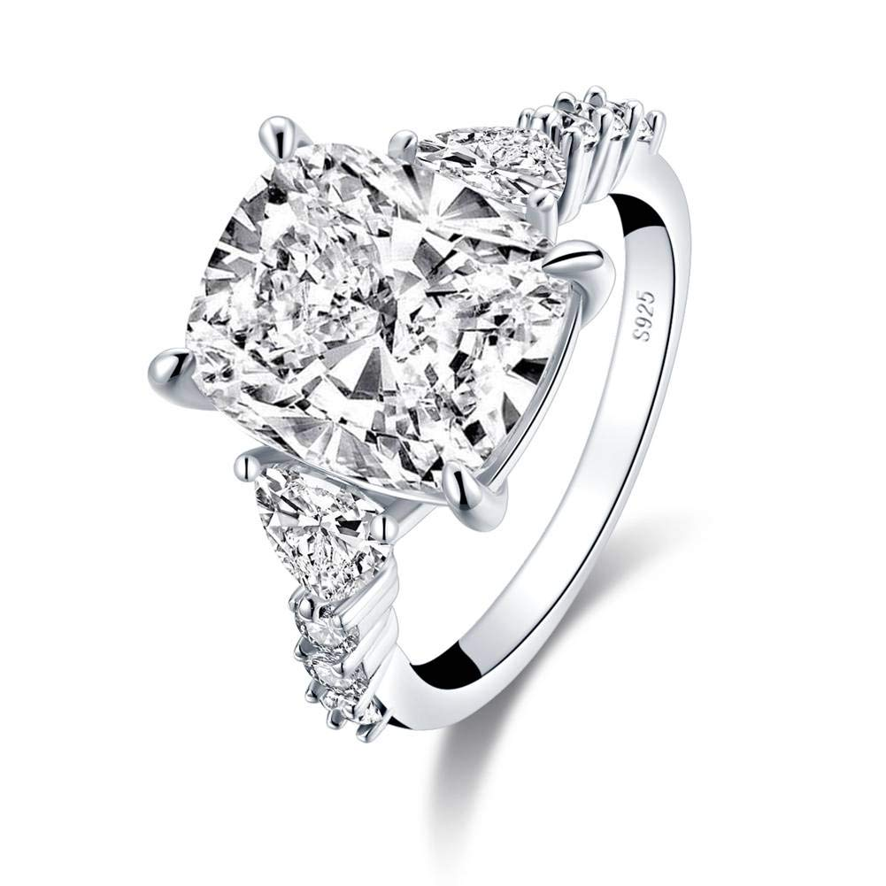 Platinum-Plated Sterling Silver 6ct Cushion Cut Brilliant Cubic Zirconia Simulated Diamond Heart Shaped CZ Engagement for Women Wedding 3-Stone Ring