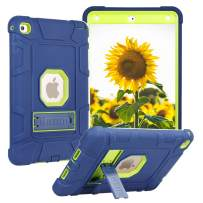 Tading iPad Mini 5 Case, iPad Mini 5th Generation Case, Hybrid 3 Layer Heavy Duty Shockproof Rugged Armor Drop Protection Cover with Kickstand for New iPad Mini 2019 and Mini 4 (Navy Blue/Lime Green)