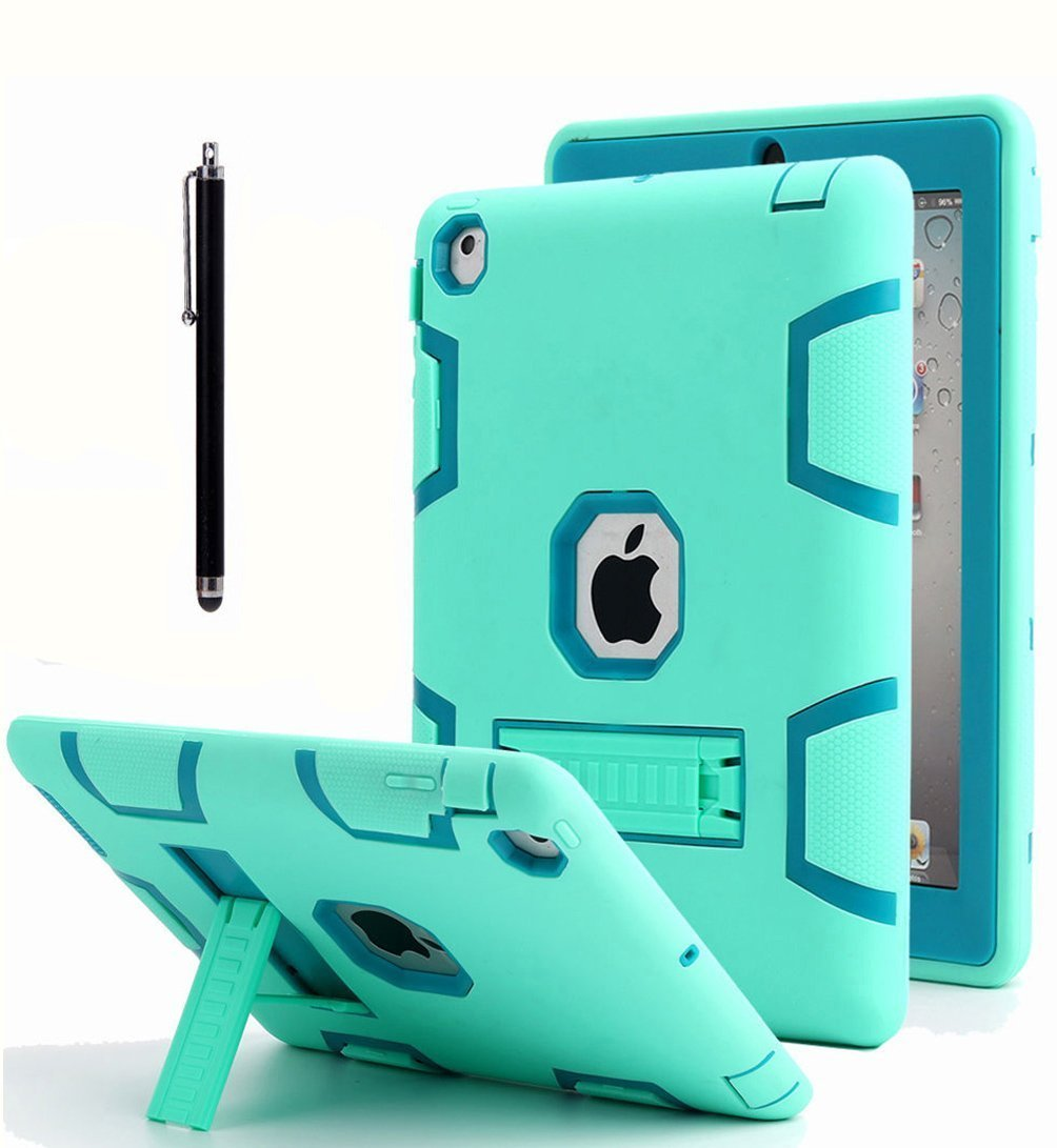 iPad 2 Case,iPad 3 Case,iPad 4 Case, AICase Kickstand Shockproof Heavy Duty High Impact Resistant Rugged Hybrid Three Layer Full Body Protective Case with Stylus for iPad 2/3/4 (Mint Blue+Green)