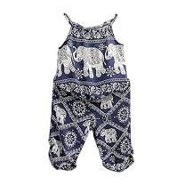 2Pcs/Set Kids Baby Girls Jumpsuit Romper, Elephant Straps Tops+Harem Pants Outfit