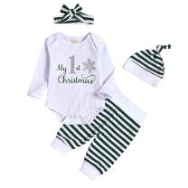 Kids Newborn Baby Boys Girls My First Christmas Outfit Romper Bodysuit Jumpsuit+Stripe Pants Winter Clothes Set