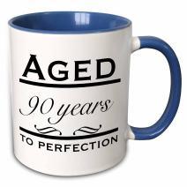 3dRose 157403_6 Aged 90 years to perfection Mug, 11 oz, Blue