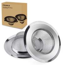 """FASAKA Kitchen Sink Strainer - 2 Piece Stainless Steel Sink Strainer 4.5"""" Diameter - Perfect for Most Sink Drains in Kitchen and Bathroom - Anti-Clogging Micro-Perforation 2mm Holes Rust Free Dishwash"""