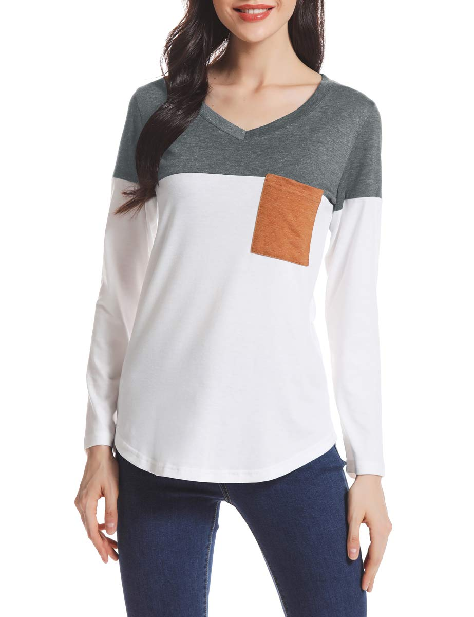 AUPYEO Women's Long Sleeve T Shirts Color Block V Neck Tee Tops Casual Blouse with Pocket