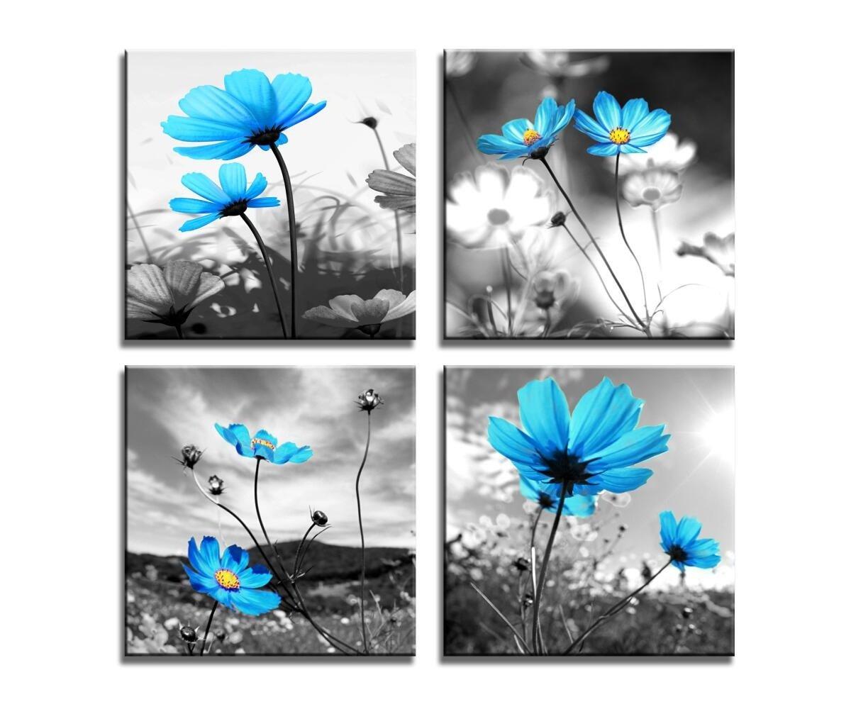 HLJ Arts Modern Salon Theme Black and White Peacock Blue Vase Flower Abstract Painting Still Life Canvas Wall Art for Home Decor 12x12inches 4pcs/set (Blue, 12x12inchesx4pcs (30x30cmx4pcs))