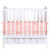 "Designthology Cotton Muslin Breathable Mini Crib Bumper Pads for Babies Portable Padded Crib Liner Protector 24""x38"", Machine Washable & Ultra Soft Safe Crib Guard, 1-Piece, Peachy Pink"