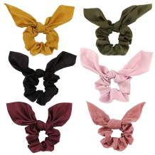Jaciya 6 Pack Hair Elastic Scrunchies Chiffon Hair Scrunchies Hair Bow Chiffon Ponytail Holder Bobbles Soft Elegant Bow Scrunchies for Women Hair Ties, 6 Colors Scrunchies with Ribbon