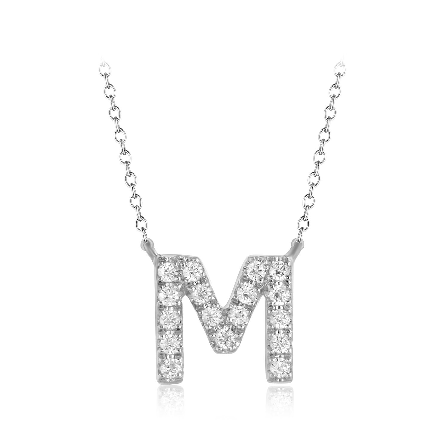 """CARATS FOR YOU 925 Sterling Silver, Round Cut Real Natural Diamond""""M"""" Initial Alphabet Pendant Chain Necklace For Women, 18 inch"""