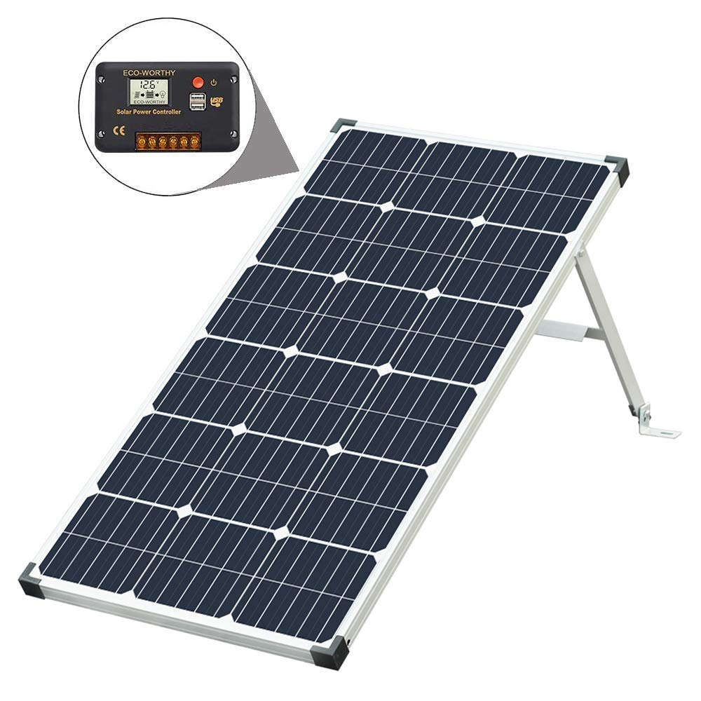 ECO-WORTHY 100 Watt 12V Complete Off-Grid Plug & Play Solar System : 100W Monocrystalline Solar Panel + 20A Charger Controller + Battery Clip + Aluminium Stand Easy Carry for Boat RV