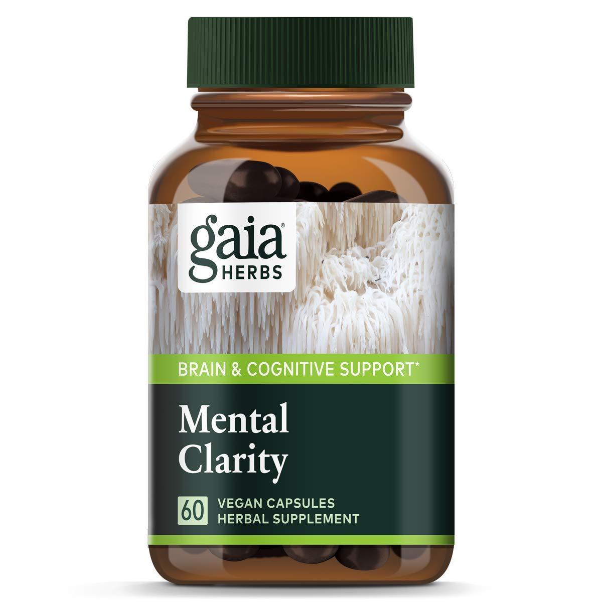 Gaia Herbs, Mushrooms + Herbs Mental Clarity, Brain & Cognitive Support, Cordyceps, Reishi, Gotu Kola, Vegan Powder Capsules, 60 Count