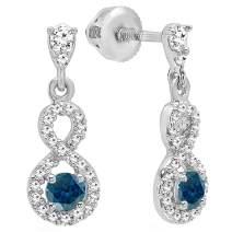 Dazzlingrock Collection 14K 3 MM Each Round Gemstone & Diamond Ladies Infinity Swirl Dangling Drop Earrings, White Gold
