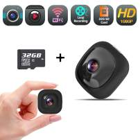 Mini Body Camera, Wearable Spy Hidden Camera, Full HD 1080P Security Camera Recorder with Wireless WiFi Clips Mount for Home and Office (32GB SD Card Included)