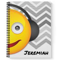 "Music Mania Children's Personalized Notebook/Journal, Laminated Soft Cover, 120 Sketch pages, lay flat wire-o spiral. Size: 8.5"" x 11"". Made in the USA"