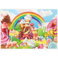 Allenjoy 7x5ft Lollipop Candyland Backdrop Sweet Cartoon Rainbow Party Supplies for Girls Princess 1st First Birthday Decorations Photography Cupcake Icecream Donut Candy Photo Booth Background Props