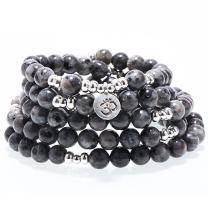SEVENSTONE 8MM 108 Mala Beads Charm Bracelet for Men Women Yoga Bracelet Necklace
