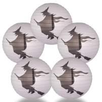 Quasimoon PaperLanternStore.com (5-Pack) 16 Inch Flying Witch Halloween Paper Lantern