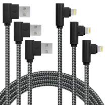 3 Pack 10FT/3M [The Most Durable Cable] 90 Degree Charging Cable Extra Long Nylon Braided Certified Cable Compatible with iPhone 12/11/Xs Max/XS/XR/X, 8 7 6 6S 6 Plus, iPad, iPod (Black Gray, 10FT)