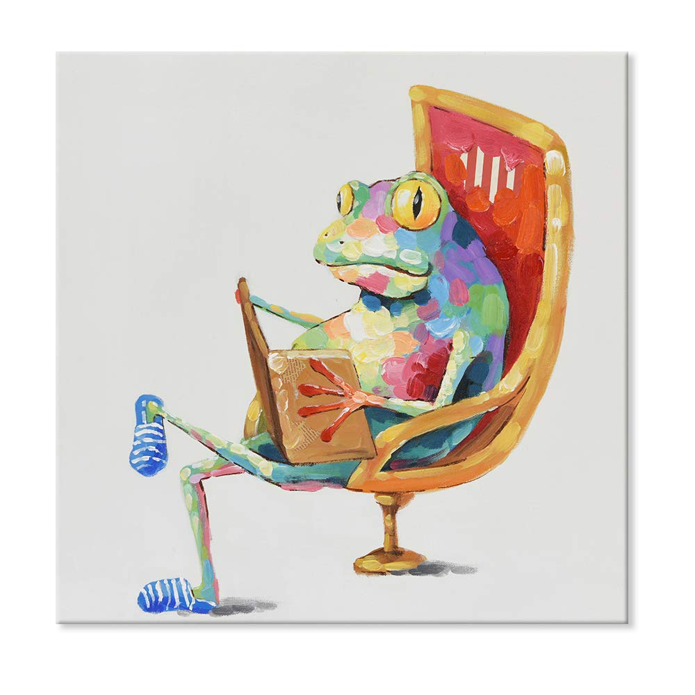 JAPO ART - 100% Hand Painted Oil Painting Funny Animal with Stretched Frame Wall Art for Living Room Ready to Hang (Leisure Frog is Reading Book, 40 x 40 Inch)