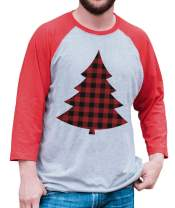 7 ate 9 Apparel Men's Plaid Tree Christmas Raglan Tee