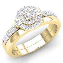 Dazzlingrock Collection 0.45 Carat (ctw) 10K Gold Round & Baguette White Diamond Ladies Bridal Halo Engagement Ring Set 1/2 CT