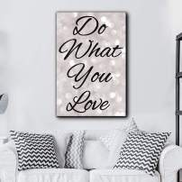 wall26 - Bold Inspirational Quote Do What You Love Black Script on Champagne Bokeh Background - Home and Dorm Room Decor - Canvas Art Home Decor - 16x24 inches
