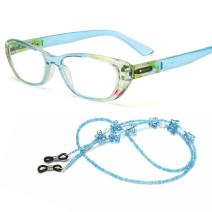 MIDI Chic Reading Glasses for Women Designed in Japan with Eyeglass Chain and Soft case (+2.50, Blue)(m101c3250)