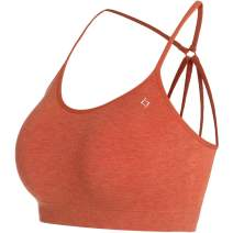 FITTIN Women's Strappy Yoga Bra - Seamless Padded Medium Support for Sports Gym Workout Fitness
